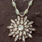 Handmade Fresh Light Green Iridescent Rhinestone Pendant Necklace