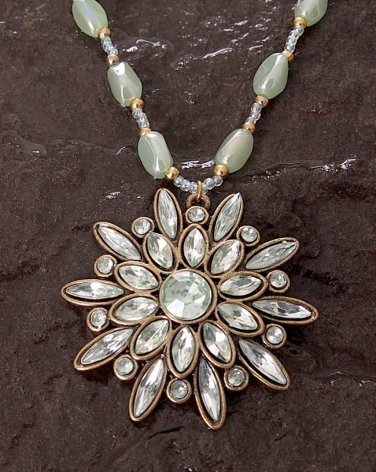 Handmade Fresh Light Green Iridescent Rhinestone Pendant Necklace