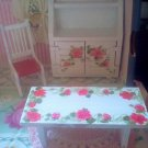 miniature Wooden doll house furniture set China hutch Table Chair cottage Roses
