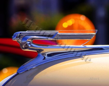 JBURTPHOTOS Original 8x10 Photographic Print - 1941 Olds Deco Nude Car Hood Ornament
