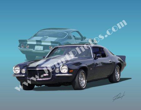 JBURTPHOTOS Original 8x10 Print - 1970 Chevy Z28 Camaro w/ Ghost Image