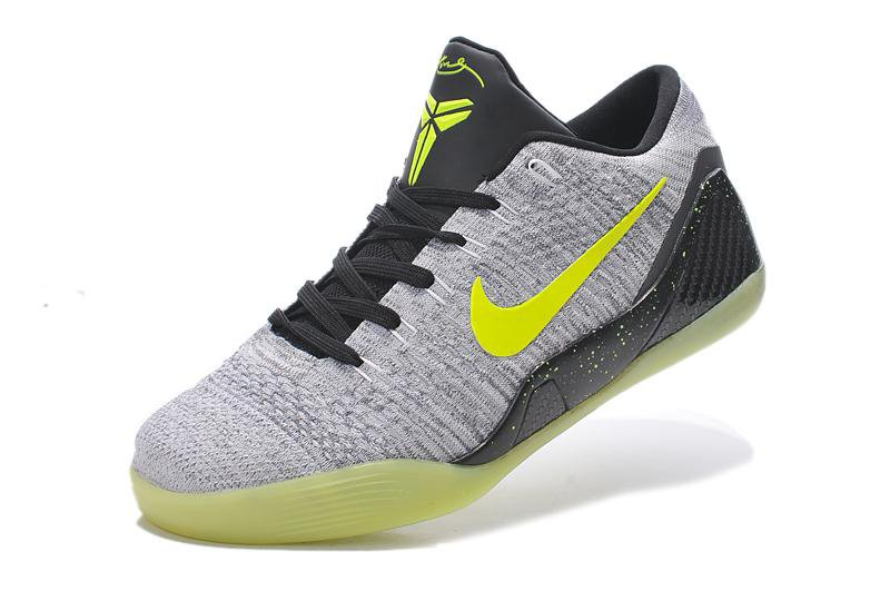 Nike Kobe 9 Elite Low Grey Black Volt Mens Basketball Shoes