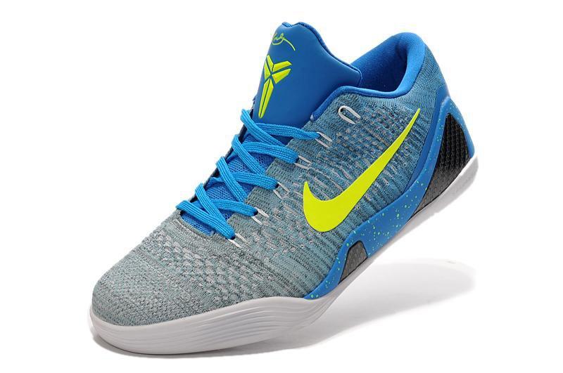 Nike Kobe 9 Elite Low Grey Blue Volt Mens Basketball Shoes