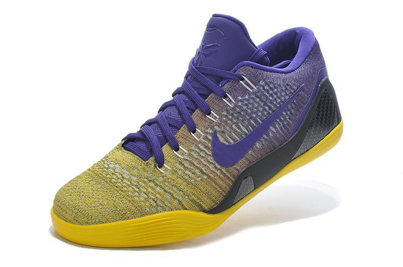 Nike Kobe 9 Elite Low Purple Yellow Basketball Shoes