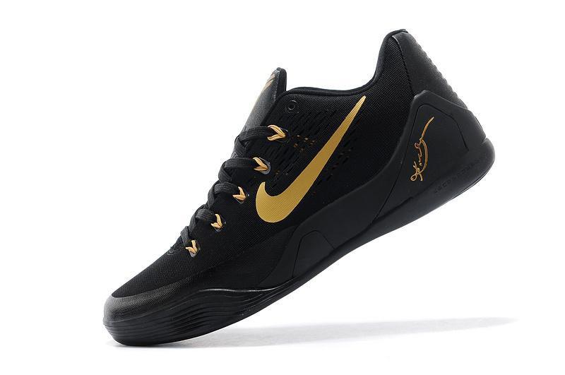 2014 Nike 653972-703 Kobe 9 EM Low Black Gold basketball shoes