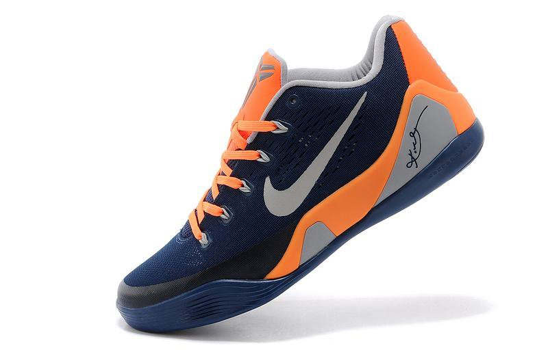 2014 Nike Kobe 9 EM Low 653972-617 Blue Grey Orange Basketball Shoes