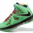2013 New Nike LeBron 10 X Green Black Red mens basketball shoes