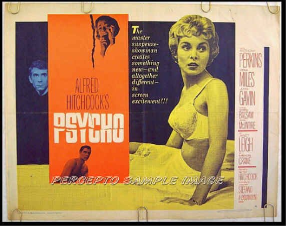PSYCHO ~ Orig '60 Style A Half-Sheet Movie Poster ~ ANTHONY PERKINS / ALFRED HITCHCOCK