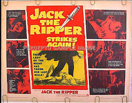 JACK THE RIPPER ~ Rare-Size Ex-Cond '60 Half-Sheet Movie Poster / LEE PATTERSON