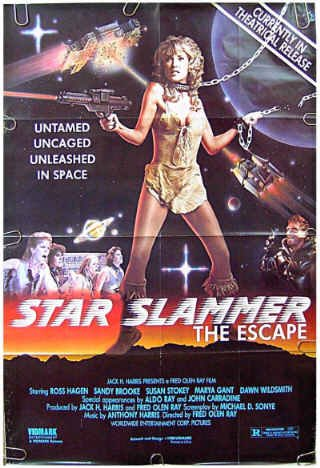 STAR SLAMMER: THE ESCAPE ~ '88 Rare SEXY SCI-FI 1-Sheet Movie Poster ~ ROSS HAGEN / SANDY BROOKE