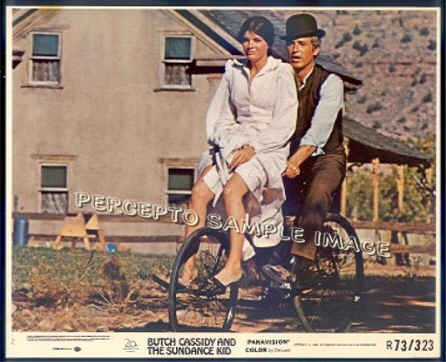 BUTCH CASSIDY AND THE SUNDANCE KID ~ '73 Movie Photo ~  Bike Ride PAUL NEWMAN / KATHERINE ROSS