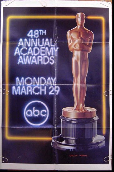 ACADEMY AWARDS / OSCARS ~ RARE 1976 ABC-TV 1-Sheet PROMO THEATRE POSTER