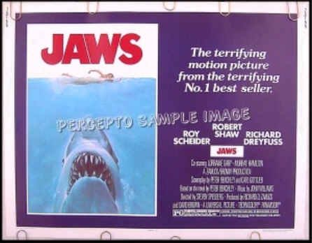 JAWS ~  '75 RARE-SIZE Orig Half-Sheet Movie Poster ~ ROY SCHEIDER / ROBERT SHAW / STEVEN SPIELBERG