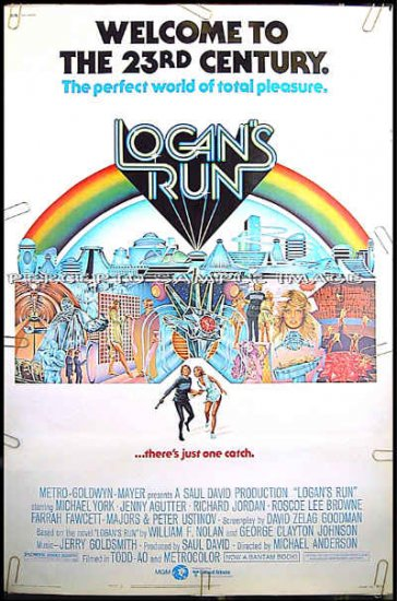 LOGAN'S RUN ~ '76 Sci-Fi 40x60 Movie Poster ~ MICHAEL YORK / FARRAH FAWCETT