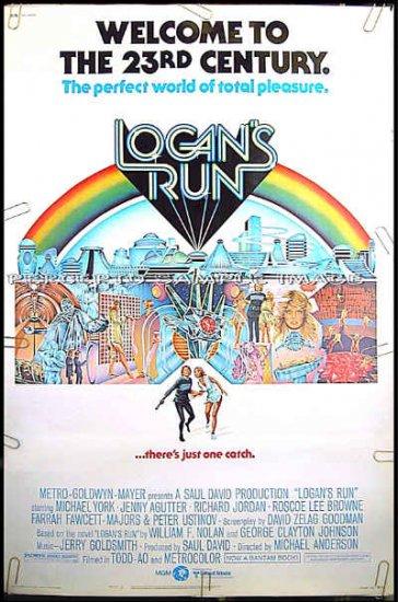 LOGAN'S RUN ~ '76 Sci-Fi 40x60 Movie Poster ~ MICHAEL YORK / FARRAH FAWCETT