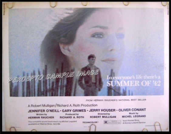 SUMMER OF '42  Rare-Size US '71 Half-Sheet Movie Poster!  JENNIFER O'NEILL