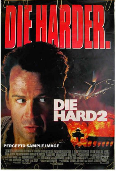 DIE HARD 2  Die Harder ~ Orig '90 2-Sided US 1-Sheet Movie Poster ~  BRUCE WILLIS / WILLIAM ATHERTON