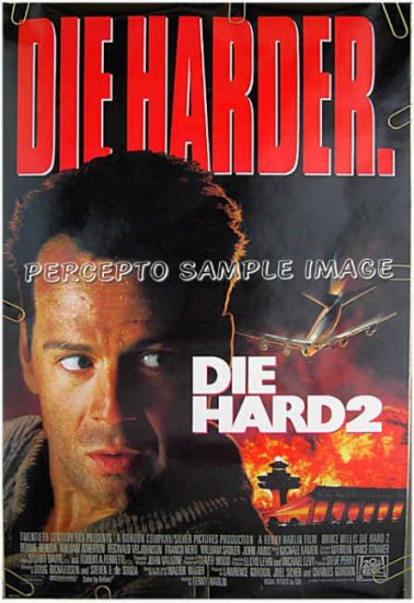 DIE HARD 2 Die Harder ~ Ex-Cond '90 DS 1-Sheet Movie Poster ~  BRUCE WILLIS / BONNIE BEDELIA