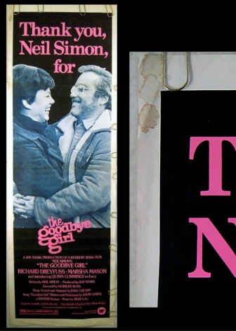 GOODBYE GIRL - '77 DOOR PANEL Movie Poster! - NEIL SIMON / MARSHA MASON / RICHARD DREYFUSS