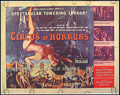 CIRCUS OF HORRORS ~ '60 Half-Sheet Movie Poster ~ Carnival Art / ANTON DIFFRING / ERIKA REMBERG