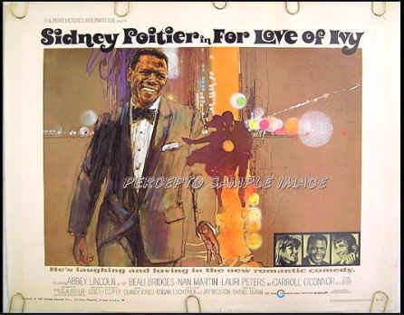 FOR LOVE OF IVY ~ '68 US Half-Sheet Movie Poster ~ SIDNEY POITIER / BEAU BRIDGES / ABBEY LINCOLN