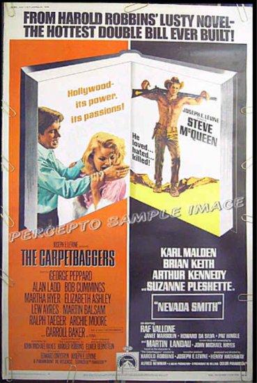 NEVADA SMITH / CARPETBAGGERS ~ '68 Movie Poster 40x60 ~ STEVE McQUEEN / CARROLL BAKER