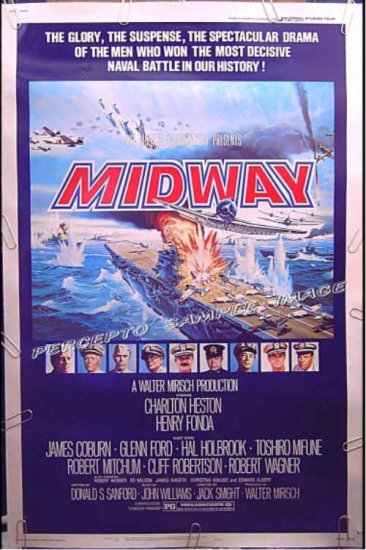 MIDWAY - Ex-Cond RARE SIZE! 40x60 WWII Movie Poster - HENRY FONDA  / CHARLTON HESTON