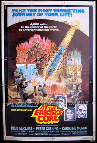 AT THE EARTH'S CORE  - Rare-Size AIP SCI-FI 40x60 Movie Poster! - DOUG McCLURE / CAROLINE MUNRO