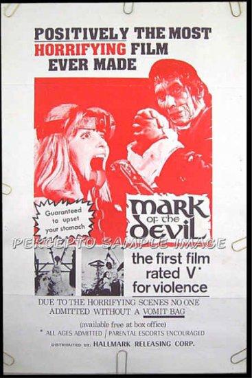 MARK OF THE DEVIL  - Rare '70 1-Sheet Vomit Bag Horror Poster! - HERBERT LOM / UDO KIER