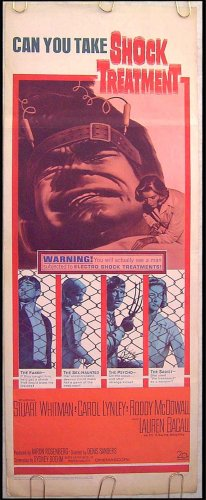 SHOCK TREATMENT - Ex-Cond '64 Insert Movie Poster - LAUREN BACALL / STUART WHITMAN