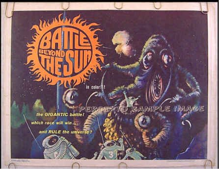 BATTLE BEYOND THE SUN - RARE '62 AIP SCI-FI Half-Sheet Movie Poster - SPACE MONSTERS!