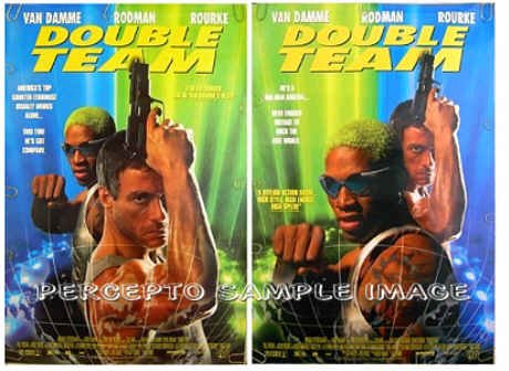 DOUBLE TEAM ~ 2-Side / 2-Image 1-Sheet Movie Poster ~ JEAN CLAUDE VAN DAMME / DENNIS RODMAN