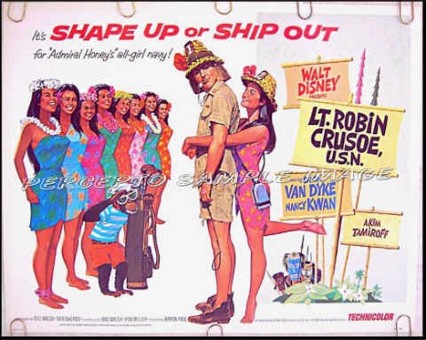 LT ROBIN CRUSOE USN ~ '74 WALT DISNEY Half-Sheet Movie Poster ~ DICK VAN DYKE / NANCY KWAN