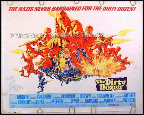 THE DIRTY DOZEN ~ '67 Half-Sheet Movie Poster ~ LEE MARVIN / CHARLES BRONSON / ERNEST BORGNINE