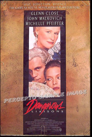 DANGEROUS LIAISONS ~ '88 1-Sheet Movie Poster ~ GLENN CLOSE / MICHELLE PFEIFFER / JOHN MALKOVICH