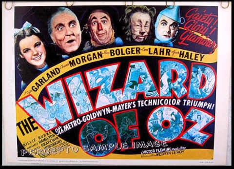 THE WIZARD OF OZ - Rare 70s Half-Sheet Reproduction Movie Poster! - JUDY GARLAND