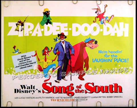 SONG OF THE SOUTH - '72 WALT DISNEY Half-Sheet Movie Poster UNCLE REMUS / BRER RABBIT