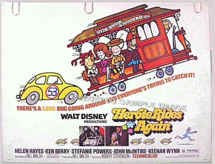 HERBIE RIDES AGAIN  - Ex-Cond '74 Half-Sheet Movie Poster - WALT DISNEY / LOVE BUG Sequel