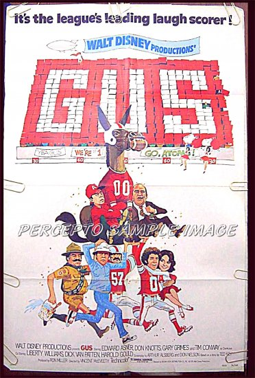 GUS - '76 1-Sheet DISNEY Movie Poster - DON KNOTTS / TIM CONWAY / EDWARD ASNER / FOOTBALL COMEDY