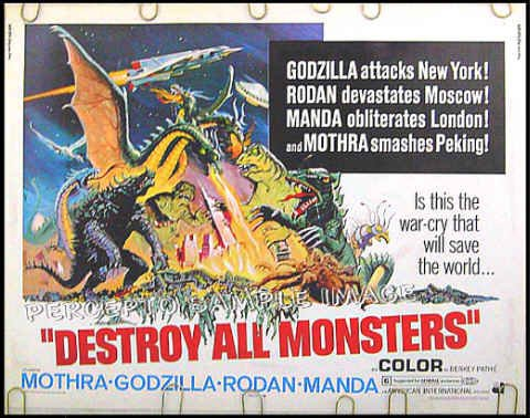 DESTROY ALL MONSTERS - '69 US TOHO / INOSHIRO HONDA Half-Sheet Poster - GODZILLA / MOTHRA / RODAN