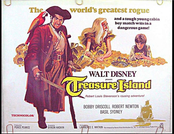 TREASURE ISLAND - '75 WALT DISNEY Half-Sheet Movie Poster - ROBERT NEWTON / BOBBY DRISCOLL