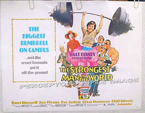 STRONGEST MAN IN THE WORLD ~ '75 WALT DISNEY Half Sheet Movie Poster ~ KURT RUSSELL