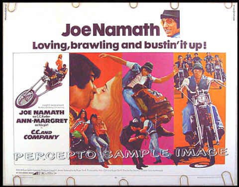 C C AND COMPANY ~ '70 Fine Cond. Half Sheet BIKER Movie Poster ~ JOE NAMATH / ANN MARGRET / CYCLES