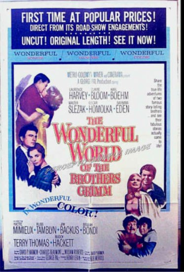 WONDERFUL WORLD OF THE BROTHERS GRIMM ~ '63 1 Sheet Movie Poster ~ YVETTE MIMIEUX / GEORGE PAL