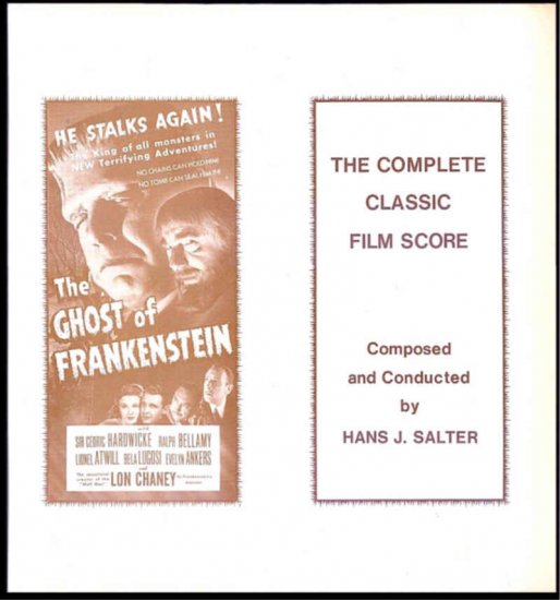 GHOST OF FRANKENSTEIN ~ Limited Edition BELA LUGOSI Movie Soundtrack Vinyl LP ~  HANS J SALTER