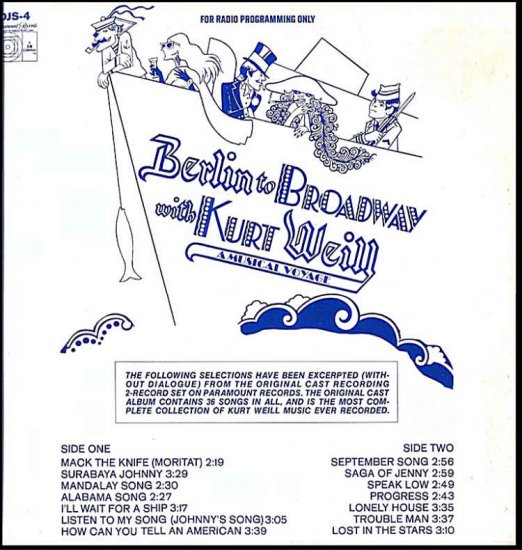 BERLIN to BROADWAY with KURT WEILL ~OOP '72 DJ Broadway Cast Vinyl LP ~ KEN KERCHEVAL / JUDY LANDER
