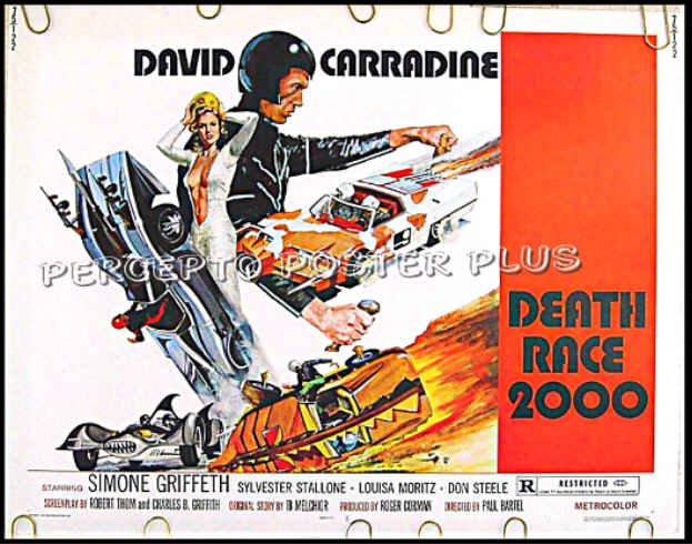 DEATH RACE 2000 ~ '75 Half-Sheet CULT CLASSIC Movie Poster! ~ DAVID CARRADINE / SYLVESTER STALLONE