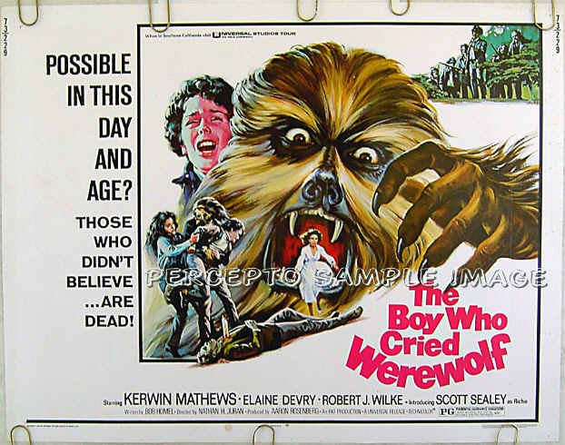 BOY WHO CRIED WEREWOLF ~ Ex-Cond '73 Half-Sheet HORROR Movie Poster ~ KERWIN MATTHEWS