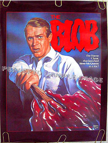 The BLOB ~ Ex-Cond 80s CULT CLASSIC Horror Movie Poster ~ STEVE McQUEEN