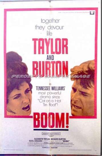 BOOM ! ~ '68 1-Sheet Movie Poster ~ ELIZABETH TAYLOR / RICHARD BURTON / NOEL COWARD / JOANNA SHIMKUS